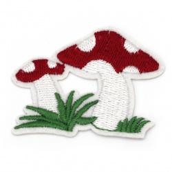 Fabric Sticker  55x45 mm Embroidered mushrooms