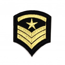 Fabric Sticker  55x70 mm Embroidered Military black   pattern with gold star