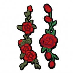 Aplicatii adeziv 2 bucati 40 ~ 140 mm Trandafiri rosii