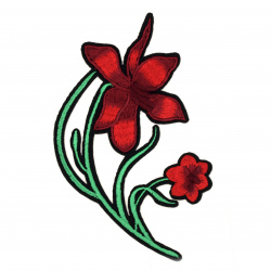 Fabric Stickers  85x145 mm Embroidered red flowers