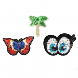Fabric Stickers  55~60 mm Embroidered  palm butterfly eyes with sequins - 3 pieces