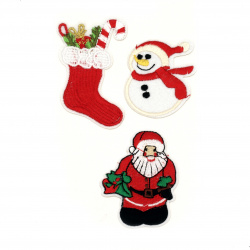 Fabric Stickers  3 pieces 50 ~ 90 mm Christmas