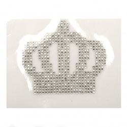 Aplicare cu cristale adezive 75x63 mm coroană alb -1 bucată