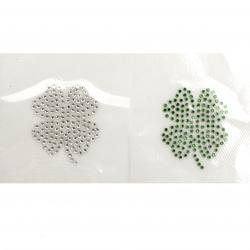Апликация с кристали лепяща 38x45 мм детелина бяла или зелена -1 брой
