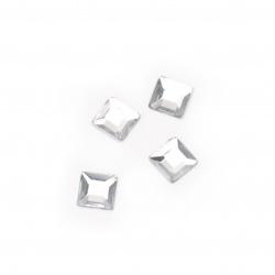 Камък акрил за лепене 4 мм квадрат бял -100 броя