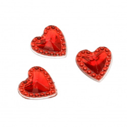 Acrylic stone for gluing heart 12 mm red with relief -50 pieces