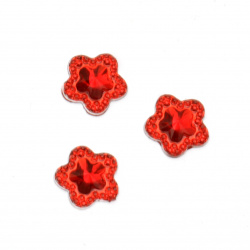 Acrylic stone for gluing flower 12 mm red faceted with relief -20 pieces