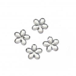 Piatra acrilica pentru lipire forma  flori 10 mm albe transparente fatete -50 bucati