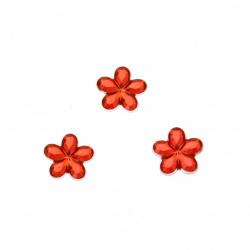 Камък акрил за лепене цвете 10 мм червен прозрачен фасетиран -50 броя