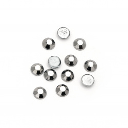 Acrylic stone for gluing 7 mm round faceted color graphite -50 pieces