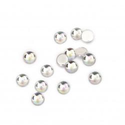 Камък акрил за лепене 4 мм кръг прозрачен дъга първо качество -100 броя