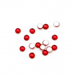 Acrylic stone for gluing 2.5 mm round red dark transparent faceted -250 pieces