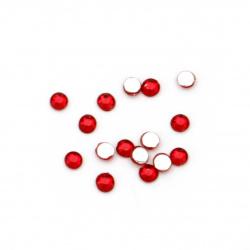 Piatra acrilica pentru lipire 2,5 mm  forma rotunda rosue inchis transparenta fatetata -250 bucati