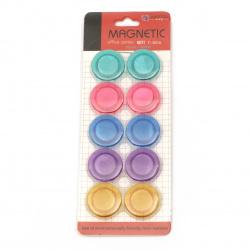 Магнит кръг пластмаса 30x7 мм 5 цвята -10 броя