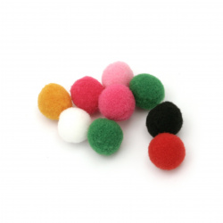 Помпони 15 мм цветни първо качество -50 броя