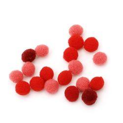 Pompoms 10 mm gama roșu 260 bucăți