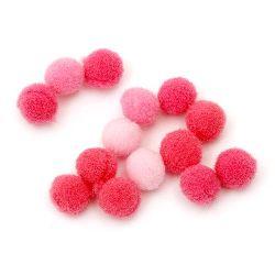 Πομ πομ 10 mm ροζ αποχρώσεις -260 τεμάχια