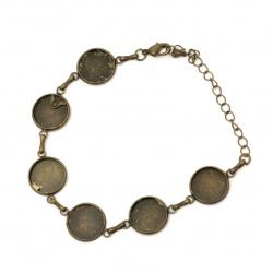 Bază brățară metalică 19 cm bază încorporată 14 mm culoare bronz antic
