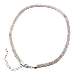 Metal necklace flat 43 cm silver