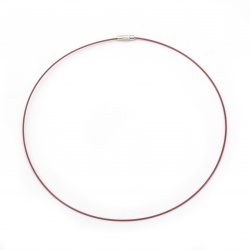 Necklace steel cord 440x1 mm burgundy