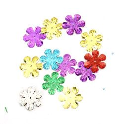 Sequins flower 24 mm rainbow Different types - 20 grams