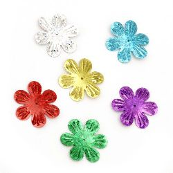 Sequins flower 32 mm rainbow Different types - 20 grams