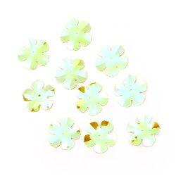 Пайети цвете 20 мм зелени дъга - 20 грама