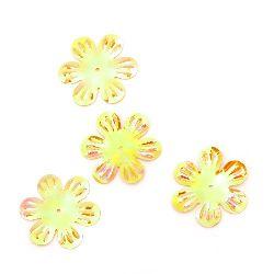 Sequins flower 32 mm relief yellow rainbow - 20 grams