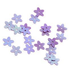 Sequins flower 10 mm purple rainbow -20 grams