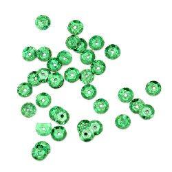 Sequins round 6 mm green rainbow - 20 grams