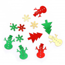 Elements for Christmas decoration 11x11 ~ 15x20 mm -9 grams