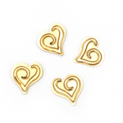 Heart decoration element 15 mm gold -20 grams