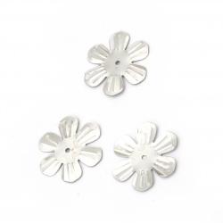 Пайети цвете 24 мм релеф сребро - 20 грама