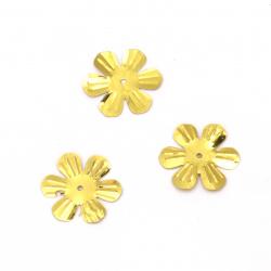 Пайети цвете 24 мм релеф злато - 20 грама