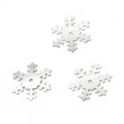 Пайети снежинка 18 мм сребро дъга -20 грама