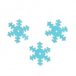 Пайети снежинка 18 мм сини -20 грама