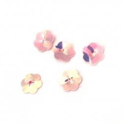 Пайети камбанка 10х1.5 мм розови тъмни дъга -20 грама