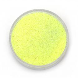 Pulbere brosată / sclipici 0,3 mm 250 microni hologramă galben  electric /  -20 grame