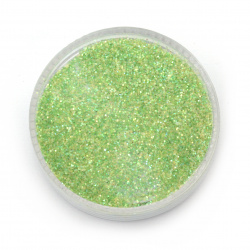 Brocade/Glitter Powder 0.3 mm 250 micron green/lime hologram/rainbow - 20 grams