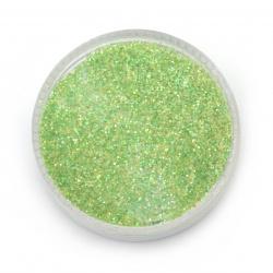 Брокат/глитер на прах 0.3 мм 250 микрона зелен/лайм холограмен/дъга -20 грама