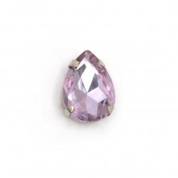 Sticlă de piatră pentru cusut cu picătură de bază metalică 13x18x7 mm gaură 1 mm culoare extra calitate violet