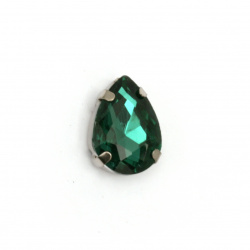 Sew On Acrylic Rhinestone,with metal base drop DIY Clothes, Decoration  13x18x7 mm hole 1 mm extra quality color green