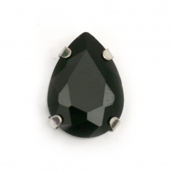 Sew On Acrylic Rhinestone,  with metal base drop DIY Clothes, Decoration 13x18x7 mm hole 1 mm extra quality color black