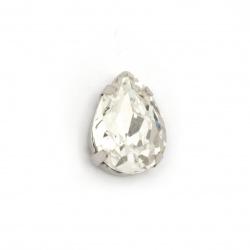 Sticlă de piatră pentru cusut cu picătură de bază metalică 13x18x7 mm gaură 1 mm culoare extra calitate alb