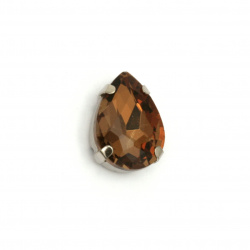 Sticlă de piatră pentru cusut cu picătură de bază metalică 13x18x7 mm gaură 1 mm calitate extra culoare maro