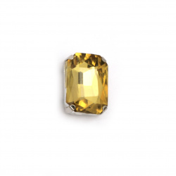 Crystal glass stone for sewing with metal base rectangle 14x10x6 mm hole 1 mm extra quality color gold