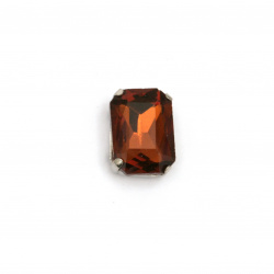 Crystal glass stone for sewing with metal base rectangle 14x10x6 mm hole 1 mm extra quality color brown