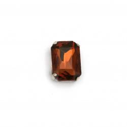 Камък стъкло за пришиване с метална основа правоъгълник 14x10x6 мм дупка 1 мм екстра качество цвят кафяв