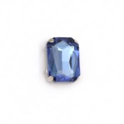 Камък стъкло за пришиване с метална основа правоъгълник 14x10x6 мм дупка 1 мм екстра качество цвят син