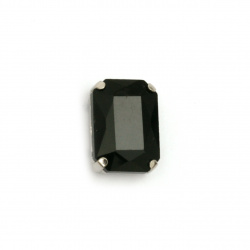Crystal glass stone for sewing with metal base rectangle 14x10x6 mm hole 1 mm extra quality color black